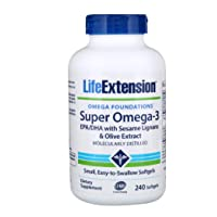 Life Extension Super Omega-3 EPA or DHA with Sesame Lignans and Olive Fruit Extract Softgels, 240 Count (240 (2 PACK))