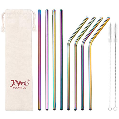 el Drinking Metal Straws, Rainbow Multi-Colored Straw, Reusable Drink Straw for 20oz Tumblers Rumblers Beverage (Set of 8,4 Bent+4 Straight + 2Brushes) ()