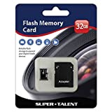 Super Talent 32GB Micro SDHC Memory Card with Adapter   (MSD32ST10R)