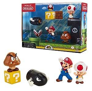 Nintendo World Mario Figure Diorama Set Acorn Plains W/Bullet Bill Diorama Set