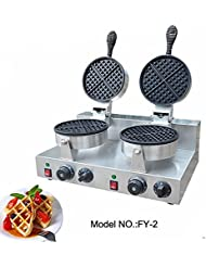 Hanchen Instrument FY 2 Double Head Electric Round Classic Belgium Belgian Waffle Baker Maker Machine Iron Mold 110V 220V