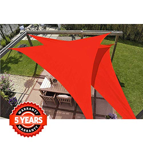 Quictent 185G HDPE Triangle Sun Shade Sail Canopy 98% UV Block Top Outdoor Cover Patio Garden Sand (20 x 20 x 20 ft, Red) (Commercial Patio Covers)
