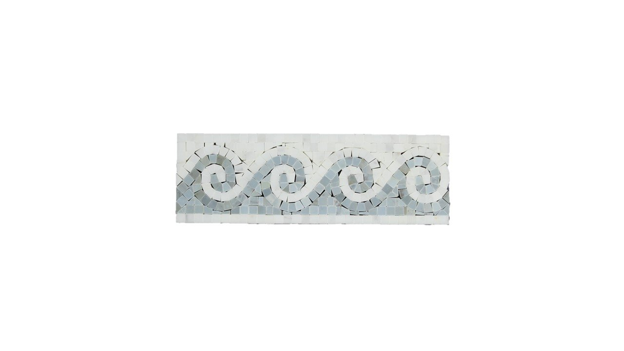 Oriental White (Eastern White) Marble Wave Border with Blue & Gray Marble Dots, Polished
