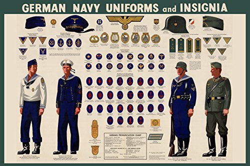 [German Navy Uniforms and Insignia Chart - WWII War Propaganda Art Print 24 x 36in with Poster] (Ww2 Navy Uniforms)