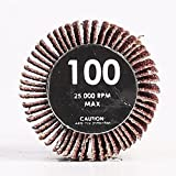 CCBO 1 Inch by 1 Inch Deburring Wheel Flap Wheel with 1/4 Inch Shank -100 Grit Pack of 10