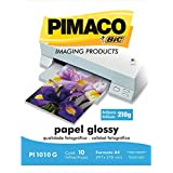 Papel Fotográfico Glossy A4 210 x 297mm 210g/m² Pacote 10 Folhas Pimaco - Branco Branco
