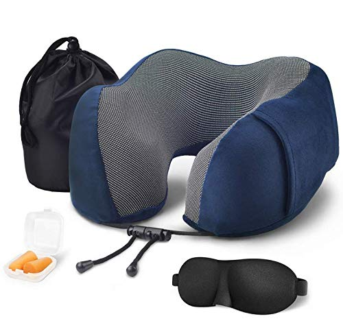 XFTREE Memory Foam Travel Pillow, Supportive Neck Pillow for Airplane Travel, Comfortable & Breathable Cover