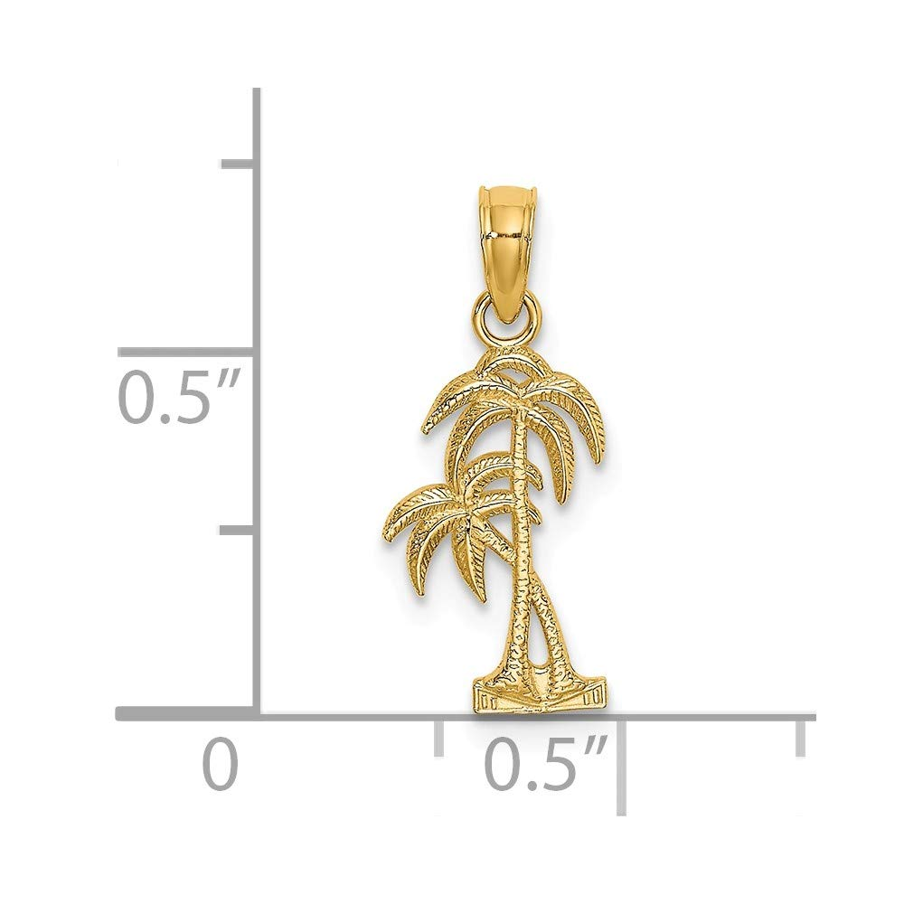 14K Yellow Gold Textured Double Palm Tree Small Charm Necklace Pendant with 18 Length Chain