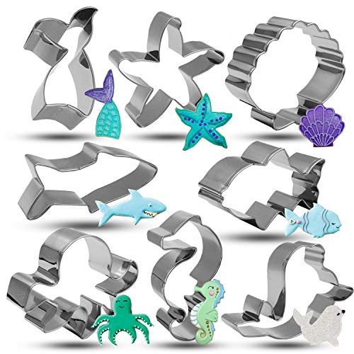 Bonropin Under the Sea Creatures Cookie Cutter Set - 8 Piece Stainless Steel Cutters Molds Cutters for Making Shark, Mermaid Tail, Seahorse, Starfish, Seashell, Octopus, Clownfish, Seal (Sea Creatures Cookie Cutters)