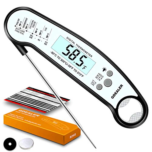 GDEALER DT13 Digital Waterproof Instant Read Meat Thermometer with Backlight Calibration Bottle Opener for Kitchen Cooking Candy Food Grilling BBQ Baking Oil Deep Fly (America's Test Kitchen Best Probe Thermometer)