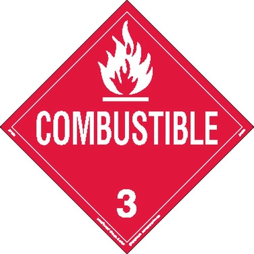 Labelmaster Z-PSR9 Combustible Liquid Hazmat Placard, Worded, Removable Vinyl (Pack of 25) by Labelmaster®