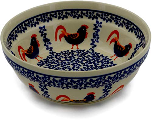 - Polish Pottery 6½-inch Bowl (Rooster Parade Theme) + Certificate of Authenticity