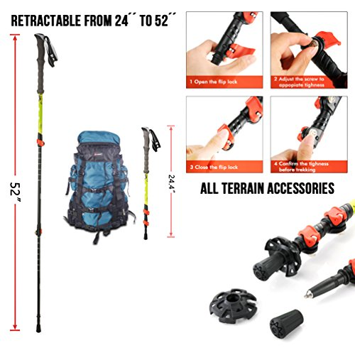 "Rosie & Bailey Hiking Poles Made from Carbon Fiber, Collapsible, Lightweight Walking Poles 2 Pack Trekking Poles with Soft EVA Grips Includes Carrying Bag Adjustable 24.4"" 52"""