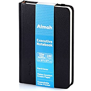 Hardcover Notebook - RULED Pages (College Ruled) Small Size - A6 | Pocket, Travel - 192 Pages, Black (60153)