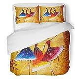 SanChic Duvet Cover Set Gray Artist Oil Painting Spanish Dance Canvas Dancer Decorative Bedding Set with Pillow Sham Twin Size