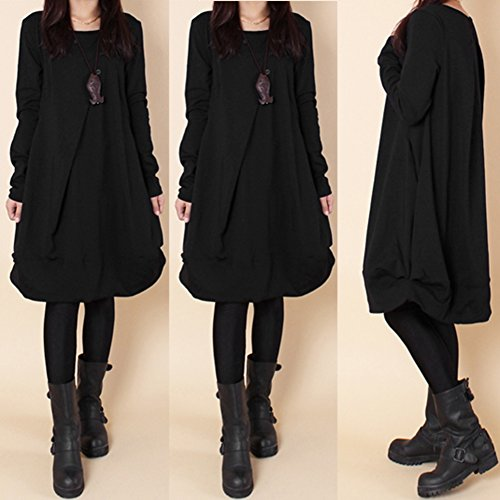 Femmes Robe, Poche Pull-over Hiver Amazingdeal Loose Dessus Chaud Cavalier Robe Pull Noir