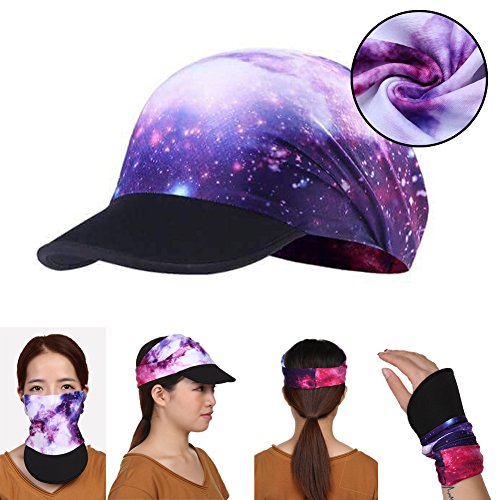 Hotsung Yoga Headband for Women&Men Novel Design Headwrap with UV Sun Protetive Soft Visor Brim for Workout and Fitness