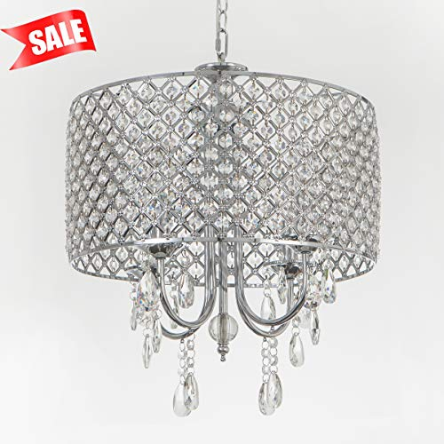 Drum Pendant Light With Crystal in US - 5