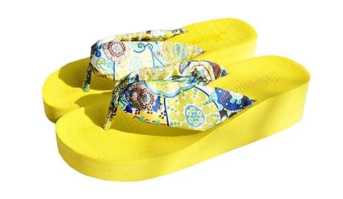 Minetom Damen Maedchen Bohemian Blume Keilabsatz Flip Flops Platform Sandale Flip Hausschuhe EU Größe ( Gelb EU 36 ) Erzy7Nn