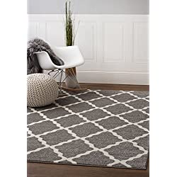 Gray and Ivory Morrocan Trellis Rug 5-Feet by 8-Feet Designer Area Rug