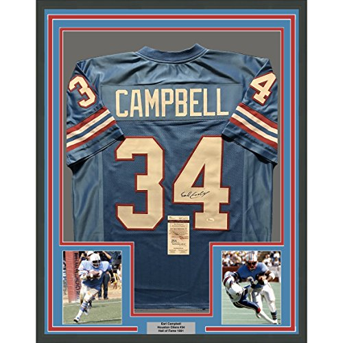 Framed Autographed/Signed Earl Campbell 33x42 Houston Oilers Blue Football Jersey JSA COA by Phanatic Sports...