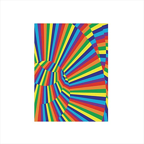 Decorative Privacy Window Film/Rainbow Colored Geometrical Whirling Figures with Contrast Perspective Optic Design/No-Glue Self Static Cling for Home Bedroom Bathroom Kitchen Office Decor Multicolor
