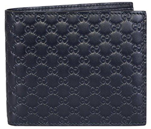 Gucci Men's Leather Micro GG Guccissima Bifold Wallet (Blue)