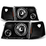 Ford Ranger Pickup Truck Black Bezel Projector Headlights w/ Corner Signal Light Lamps Replacement