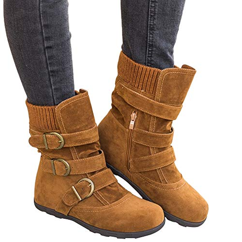 Memela Clearance Sale!! Women's Fashion Flat Heel Side Zipper Slouch Ankle Boots Zipper Strap Buckle Flat Heel Slouchy Boots (Brown, 7 M US) -