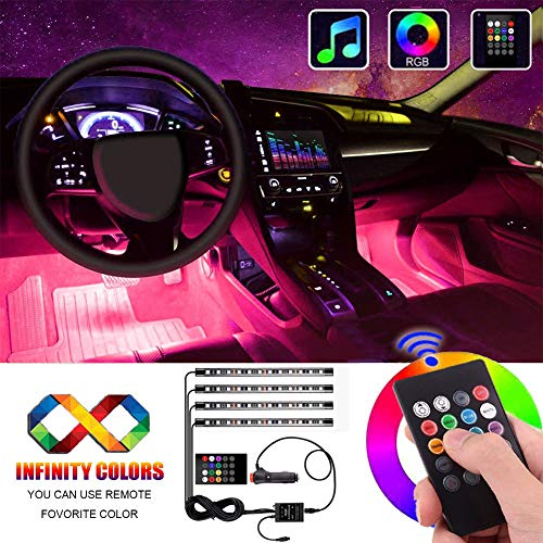 Interior Car Lights, Atmosphere Lighting Car Multicolor Waterproof Kit with Sound Active Function and Wireless Control, Car Charger Included by - Led Interior Lights Cars For