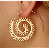 by lucky Punk Women Vintage Circles Round Spiral Silver Gold Plated Hoop Earring Jewelry