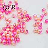 Ochoos Pick Size 4/6/8/10mm Rainbow Rose and Champagne Imitation Pearls Beads Crafts Decoration for DIY Jewelry Making 50-500pcs/lot - (Item Diameter: 12mm 20pcs)