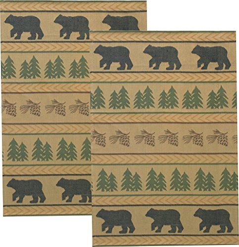 - Bear Tracks Cotton Jacquard Towel - Set of 2