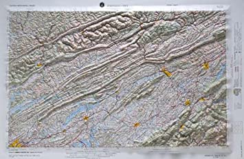 Johnson City Regional Raised Relief Map In The States Of Kentucky