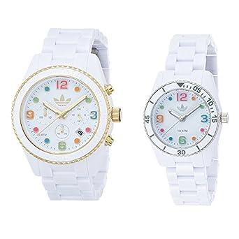 a3aa311c76 [アディダス]adidas ペアウォッチ ブリスベン 44mm 33mm カラフルインデックス ホワイト プラスチック ADH2945ADH2941  腕時計 [