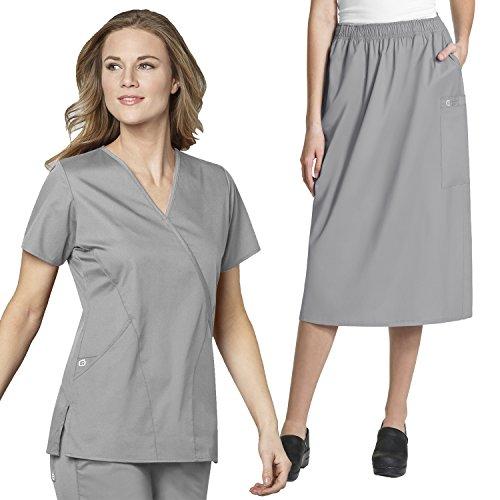 Cotton Cargo Skirt (WonderWork Mock Wrap Scrub Tops & Women's Pull-On Cargo Skirt set [XS - 5XL]+ FREE GIFT)