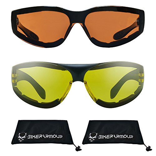 be91595a87e7 Motorcycle Sunglasses Foam Padded for Men and Women. Chrome Flame Design  with Safety Polycarbonate Smoke Lens and Free Microfiber Cleaning Case.