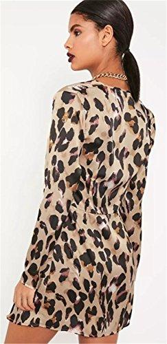 Moda Escote Triangular en V Manga Larga Twist Girada en la Parte Delantera Leopardo Minivestido Mini de Corte Bodycon de Tubo Ajustado Lápiz Camisero Dress Vestido Leopardo
