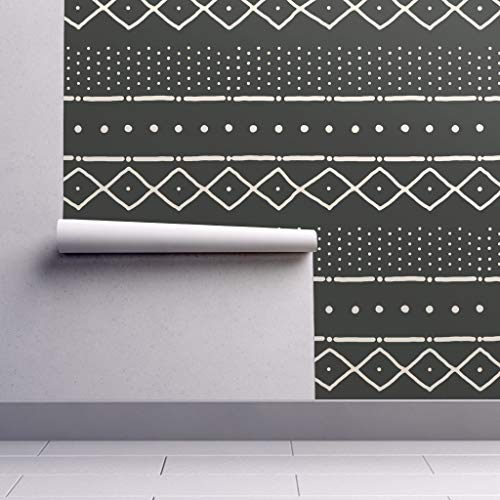 Peel-and-Stick Removable Wallpaper - Mudcloth African Tribal Black Upholstery by Domesticate - 12in x 24in Woven Textured Peel-and-Stick Removable Wallpaper Test ()