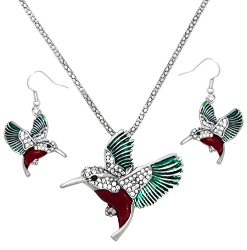 DianaL Boutique Gorgeous Silver Tone Enamel Crystal Hummingbird Pendant Necklace and Earrings Set Bird Jewelry