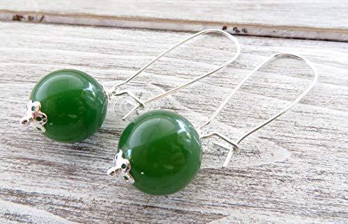 Pendientes de plata de ley 925, pendientes de jade verde esmeralda, joyas de fiesta, joyas de piedras semi preciosas, joyas modernas, bisutería de mujer