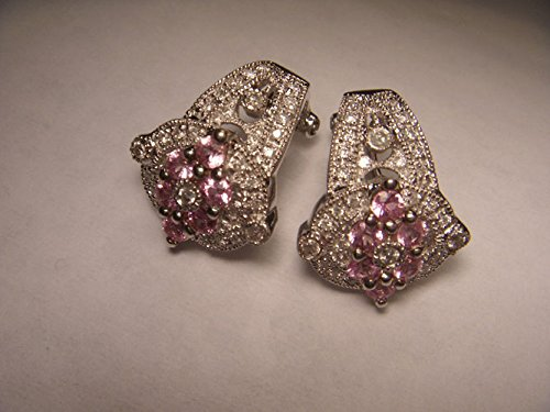 Gorgeous 14K White Gold Filigree Pink Sapphire Diamond Floral Huggie Earrings (Floral Pink Sapphire)