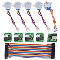 kuman Stepper Motor for Arduino 5 sets 28BYJ-48 ULN2003 5V Stepper Motor + ULN2003 Driver Board + Better Dupont Wire 40pin Male to Female Breadboard Jumper Wires Ribbon Cables K67 from kuman