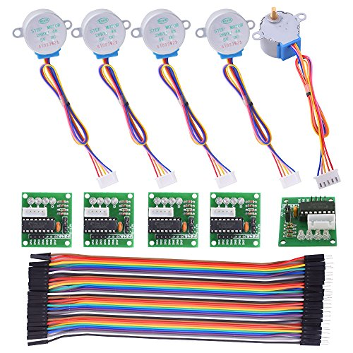 Kuman Stepper Motor for Arduino 5 sets 28BYJ-48 ULN2003 5V Stepper Motor + ULN2003 Driver Board + Better Dupont Wire 40pin Male to Female Breadboard Jumper Wires Ribbon Cables K67 (Pic Wireless Controller)