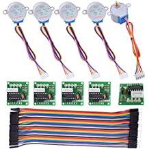 kuman Stepper Motor for Arduino 5 Sets 28BYJ-48 ULN2003 5V Stepper Motor + ULN2003 Driver Board + Better Dupont Wire 40pin Male to Female Breadboard Jumper Wires Ribbon Cables K67