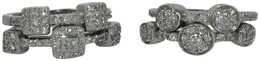4pcs-STACK RINGS-2pcs-SQUARE & 2pcs-ROUND-(.925) STERLING SILVER-WITH PAVE CRYSTALS -SIZE-7