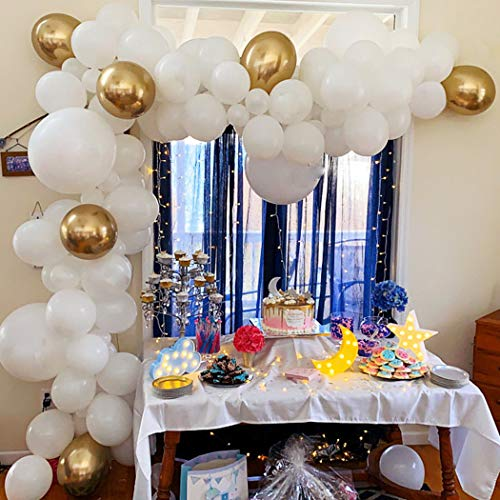 Beaumode White and Gold Balloon Garland Kit Balloons Arch of 109pcs Latex Balloons for Baby Shower Engagement Party Bridal Shower White Wedding Arch Birthday Bachelorette Party Backdrop Balloon Towers -