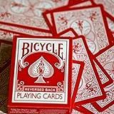 "Bicycle 808 Playing Cards ""RED Reversed Back"" Deck, in Umkehrfarben, mit 4 Zauberkarten / Gaff Cards"