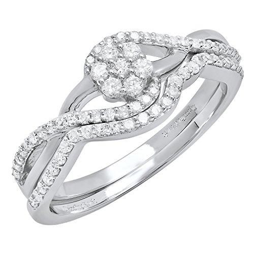 Dazzlingrock Collection 0.45 Carat (ctw) 10K Round Diamond Ladies Swirl Cluster Ring Set 1/2 CT, White Gold, Size 7