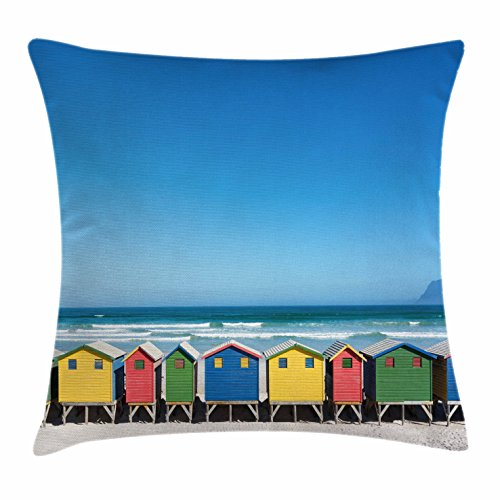 Ambesonne Travel Throw Pillow Cushion Cover, Colorful Bathhouses at Muizenberg Cape Town South Africa Standing in a Row Touristic, Decorative Square Accent Pillow Case, 40 X 40 inches, Multicolor by Ambesonne